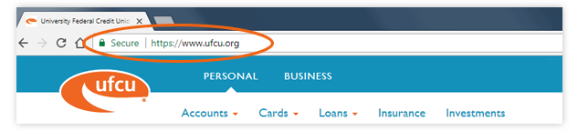 Screen grab of the log in screen with the secure URL - https://www.ufcu.org - circled.