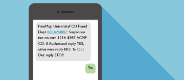 Text messages to alert you to possible fraud.