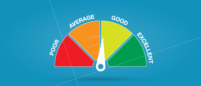 Illustration of a rating system going from poor to excellent.
